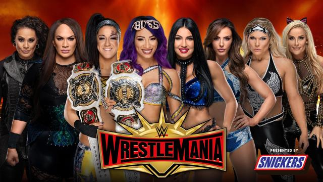 Image result for wrestlemania 35 Sasha Banks and Bayley (c) vs. The IIconics vs. Nia Jax and Tamina Snuka vs. Natalya and Beth Phoenix