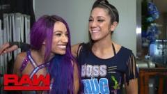 Sasha Banks and Bayley after Banks' recent RAW win.
