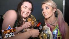Alexa Bliss and Nikki Cross after defending their WWE Women's Tag Team Titles at SummerSlam.
