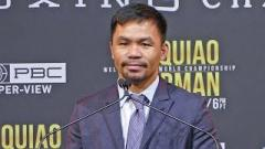 Manny Pacquiao at the press conference for his fight with Keith Thurman.