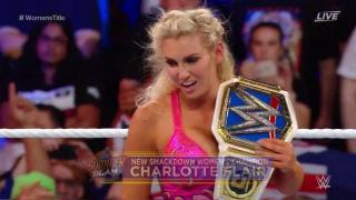 Charlotte Flair Wins The SmackDown Live Women's Championship; Becky Lynch Attacks Charlotte After The Match