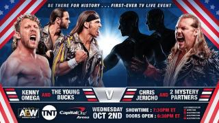 Young Bucks & Kenny Omega vs. Chris Jericho & Two Mystery Partners Official For AEW On TNT Debut