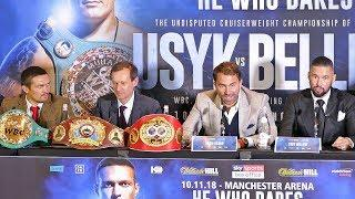 Oleksandr Usyk and Tony Bellew at the press conference for their upcoming unification bout.