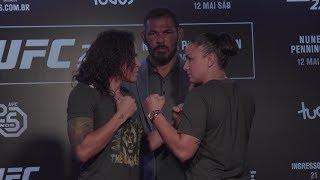 Raquel Pennington and Amanda Nunes before their UFC 224 fight.