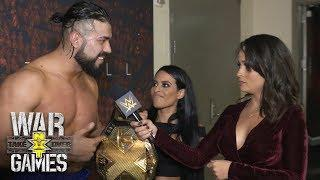 NXT champion Andrade 'Cien' Almas and his business associate Zelina Vega following their TakeOver win.