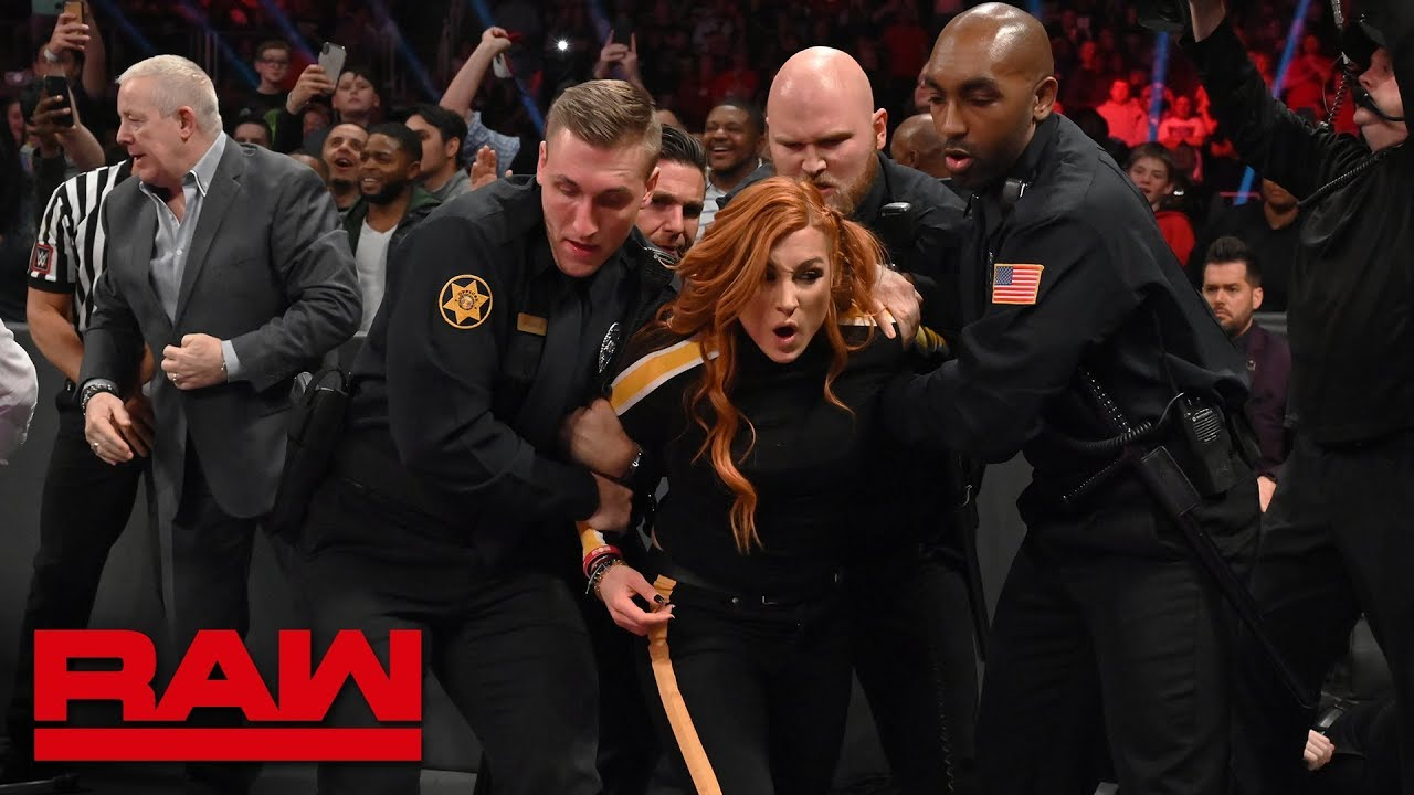 Image result for Becky Lynch Interferes In Ronda Rousey's Match On WWE RAW, The Man Gets Arrested, Ronda Demands Becky Be Put Back In WrestleMania 35 Title Match
